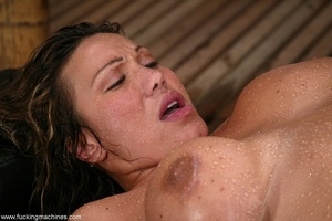 Oiled MILF with huge shapes gets drilled by machine - XXXonXXX - Pic 17