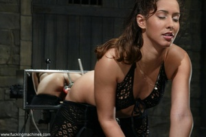 Juicy vagina of young lassie welcomes mechanized dildo - XXXonXXX - Pic 2