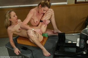 Sweet babes fuck themselves with dildo machine in classroom - XXXonXXX - Pic 14