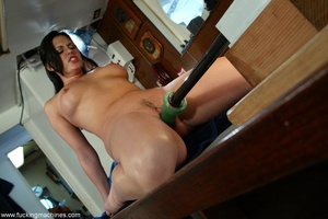 Smiling lady gets her pussy stretched by mechanized dildo - XXXonXXX - Pic 9