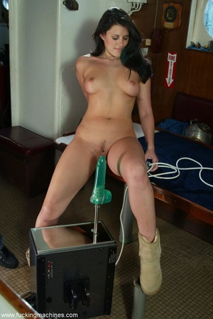 Smiling lady gets her pussy stretched by mechanized dildo - XXXonXXX - Pic 13