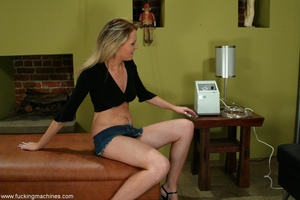 Long-legged blonde brings machine driven dildos into play - XXXonXXX - Pic 1