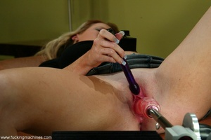 Long-legged blonde brings machine driven dildos into play - XXXonXXX - Pic 5