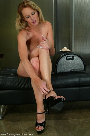 Long-legged blonde brings machine driven dildos into play - XXXonXXX - Pic 15