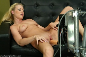 Naughty blonde in stockings gets hard fucked by machines - XXXonXXX - Pic 15
