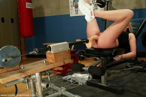 Deep throat scene between dildo machine and lovely blonde - XXXonXXX - Pic 5