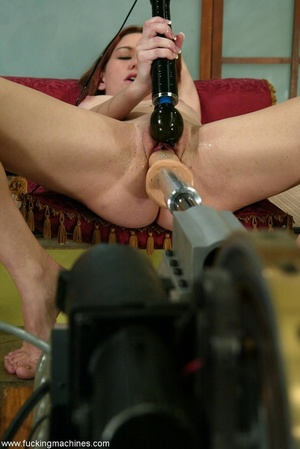 Lady puts condom on dildo machine before a brutal anal sex - XXXonXXX - Pic 14