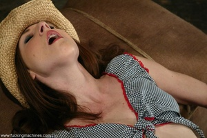 Girl with cute cowboy hat rides on top of sybian machine - XXXonXXX - Pic 3