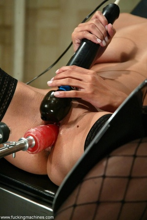 Young lady with hot legs rides vibrator machine very hard - XXXonXXX - Pic 8