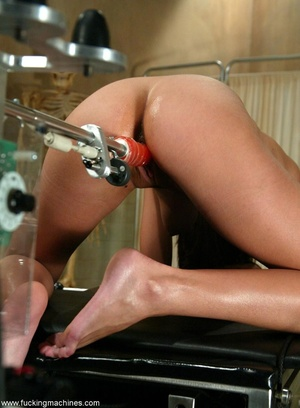 Young lady with hot legs rides vibrator machine very hard - XXXonXXX - Pic 12