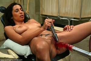 Young lady with hot legs rides vibrator machine very hard - XXXonXXX - Pic 18