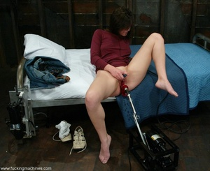 Woman with natural tits has a great time with dildo machines - XXXonXXX - Pic 2