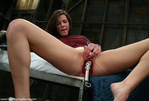 Woman with natural tits has a great time with dildo machines - XXXonXXX - Pic 3