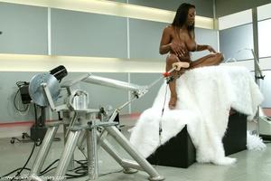 Fucking machine penetrates black woman's tight pussy - XXXonXXX - Pic 9