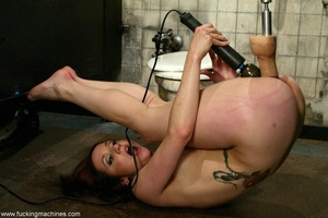 Redhead has some fun with fucking machines in the toilet - XXXonXXX - Pic 16