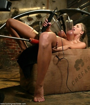 Blonde sucks black mechanized dildo while touching herself - XXXonXXX - Pic 17