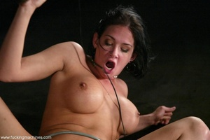 Brunette fucked by two sex machines to double the pleasure - XXXonXXX - Pic 17