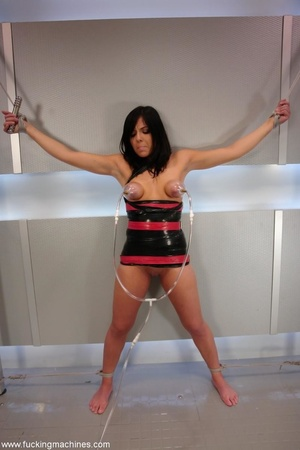 Tied up hot brunette riding on top of robotic sex machine - XXXonXXX - Pic 2