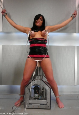 Tied up hot brunette riding on top of robotic sex machine - XXXonXXX - Pic 5