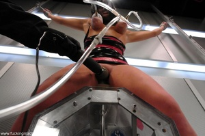 Tied up hot brunette riding on top of robotic sex machine - XXXonXXX - Pic 6