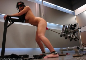 Tied up hot brunette riding on top of robotic sex machine - XXXonXXX - Pic 9