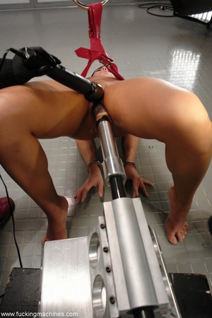 Tied up hot brunette riding on top of robotic sex machine - XXXonXXX - Pic 17