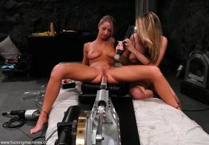 Horny lesbians stimulate their cunts with mechanized dildo - XXXonXXX - Pic 1
