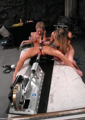 Horny lesbians stimulate their cunts with mechanized dildo - XXXonXXX - Pic 2