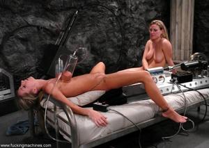 Horny lesbians stimulate their cunts with mechanized dildo - XXXonXXX - Pic 4