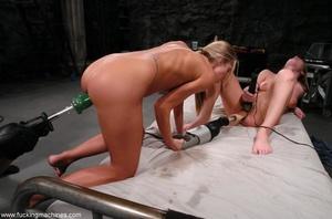 Horny lesbians stimulate their cunts with mechanized dildo - XXXonXXX - Pic 5