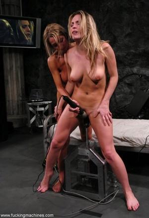Horny lesbians stimulate their cunts with mechanized dildo - XXXonXXX - Pic 15