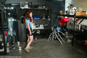 Redheaded babe with hot legs rides a fucking engine - XXXonXXX - Pic 1