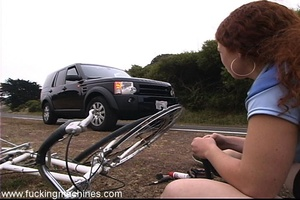 Machine makes bitch with red hair to have fun in the car - XXXonXXX - Pic 1