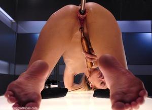 Blonde lady with awesome legs rides a sybian machine - XXXonXXX - Pic 15