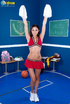 Perfect tramp in a red cheerleader outfit shows…