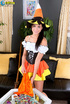 Marvelous whore in a witchy barmaid number bares…