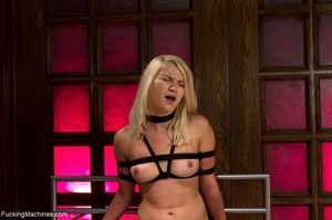 Tied up blonde slut gets used with many  - XXX Dessert - Picture 16