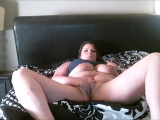 BBW model shows her big tits and teases her shaved kitty - Picture 3