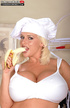 Naughty cute blonde chef in white tantalizes with big tits and banana