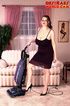 Lusty chick in long dress stops vacuuming to play…