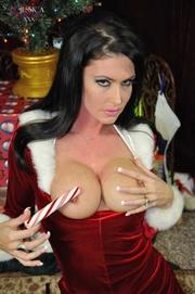 slutty brunette plays santa