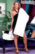 Tasty pretty brunette in white robe and black…