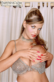 shapely blonde silver lingerie
