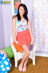 "Juicy fawn in a ""peace"" shirt and orange skirt…"