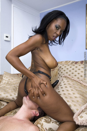 Busty ebony shows huge ass and sweet pussy, then deep anal rams a white guy with strap on. - XXXonXXX - Pic 10