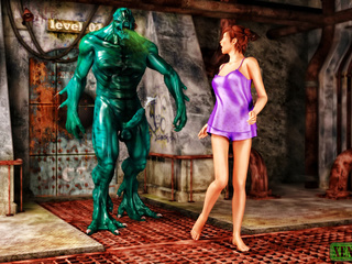Green stinky monster drilling hot redhead badly - Picture 1