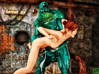Green stinky monster drilling hot redhead badly - Picture 4