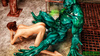 Boobed red babe fucking with stinky green creature in various poses