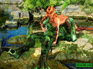 Tattooed red beauty gets banged by green water - Picture 4