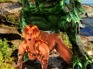 Inked red hottie riding huge green monster's cock in - Picture 2
